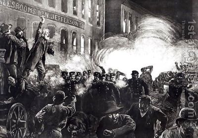 The-Anarchist-Riot-In-Chicago-A-Dynamite-Bomb-Exploding-Among-The-Police,-From-Harpers-Weekly